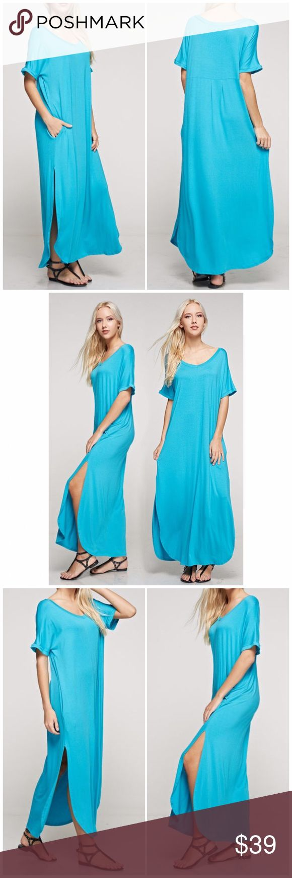 The Must Have Turquoise Maxi Dress The must have Maxi Dress for spring and summer! Loose fitting Turquoise dress that Features a v-neck, 2 pockets and 2 side slits. 95% Rayon, 5% spandex. Fabfindz Dresses Maxi