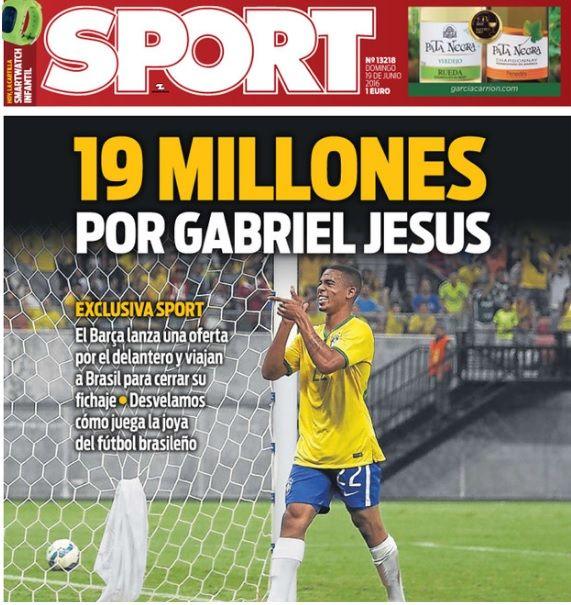 Barcelona oferece R$ 78,3 milhões por Gabriel Jesus, diz jornal espanhol #globoesporte