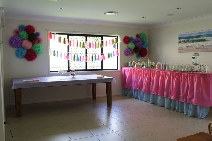 set up, food table, lolly buffet and drink station