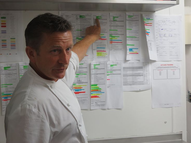 Chef Gary Jones, with just some of the backstage schedules that keep the restaurant tickityboo