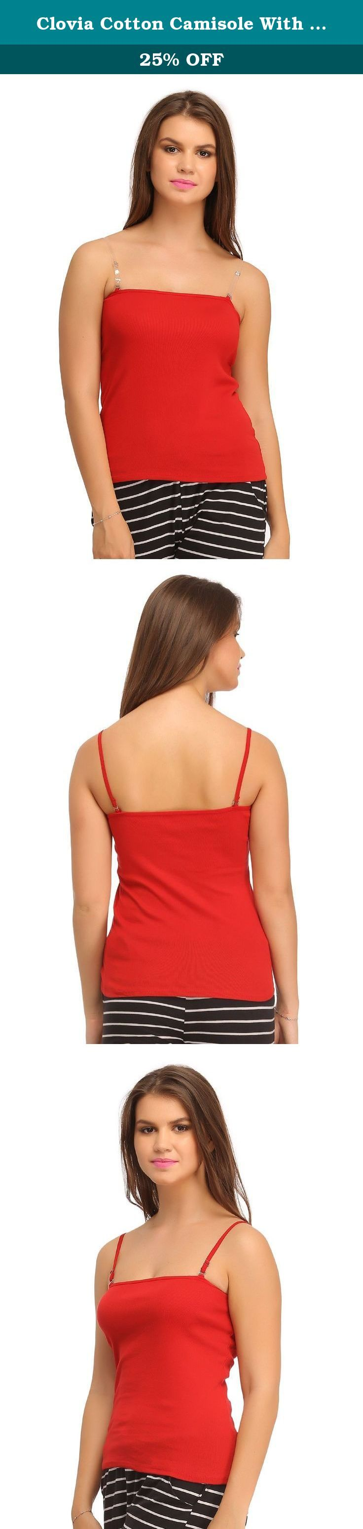 Clovia Cotton Camisole With Detachable Straps - Red. Red coloured cotton camisole with detachable straps.Soft stretchable cotton fabric gives a comfortable feel for all day long.Waist length camisoles, ideal for everyday wear.Sporting an off shoulder style, this camisole has adjustable detachable straps, which can be styled as cross back or multiways too.Note: The actual colour of the product may vary slightly from the colour visible on your screen. Note:- Returns are not acceptable for…