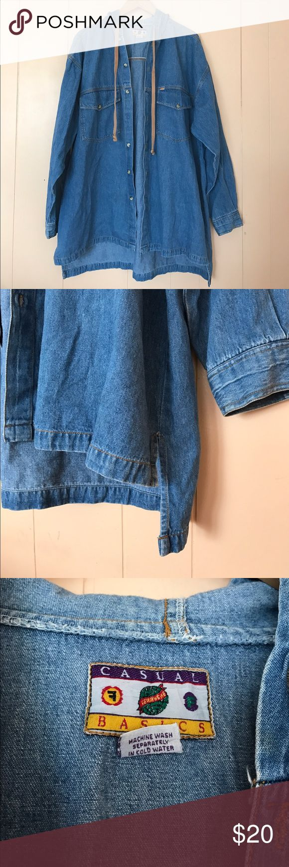 Vintage Long Sleeve Hooded Jean Shirt Side Slits In great vintage condition. Vintage Shirts Casual Button Down Shirts