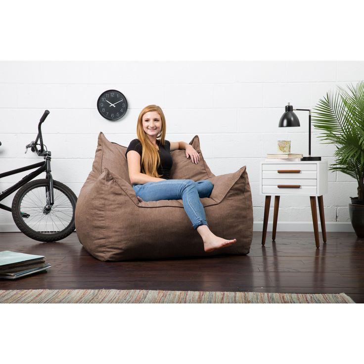 Comfort Research FufSack Big Joe Lux Imperial Solid-colored Linen Memory Foam Bean Bag Lounger Chair