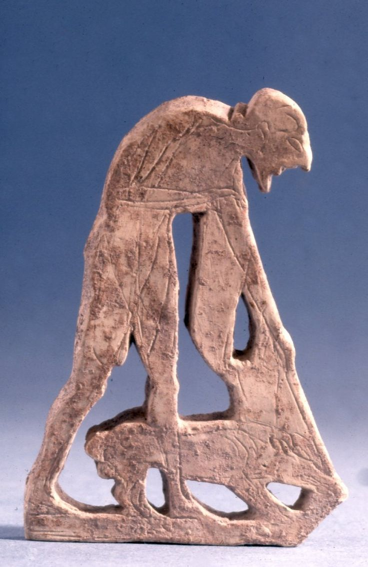 Ancient greece furniture -  Open Work Terracotta Plaque In Form Of Man With Staff And Dog Incised Detail From Piece Of Furniture