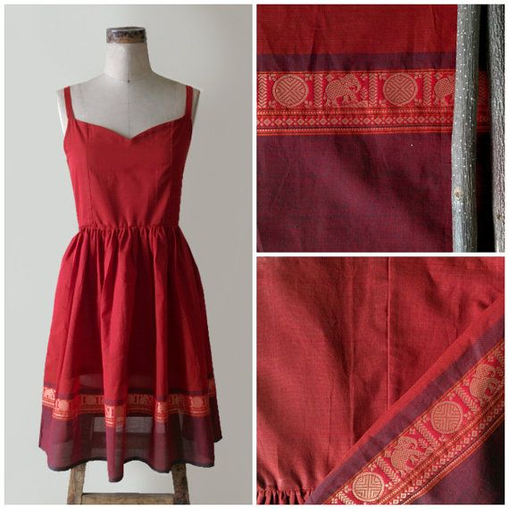 Vintage Style Boho Dress Crafted from a traditional cotton saree by MograDesigns on Etsy