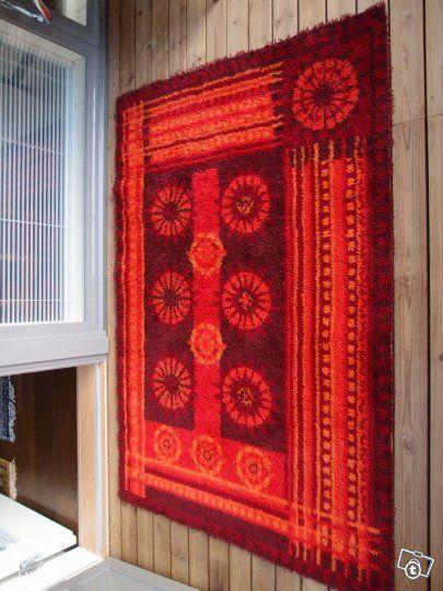 Ryijy matto villaa vintage hyväkuntoinen