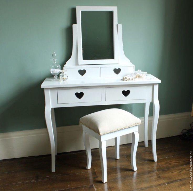 Купить Туалетный столик с зеркалом - белый, туалетный столик, трюмо, столик из дерева