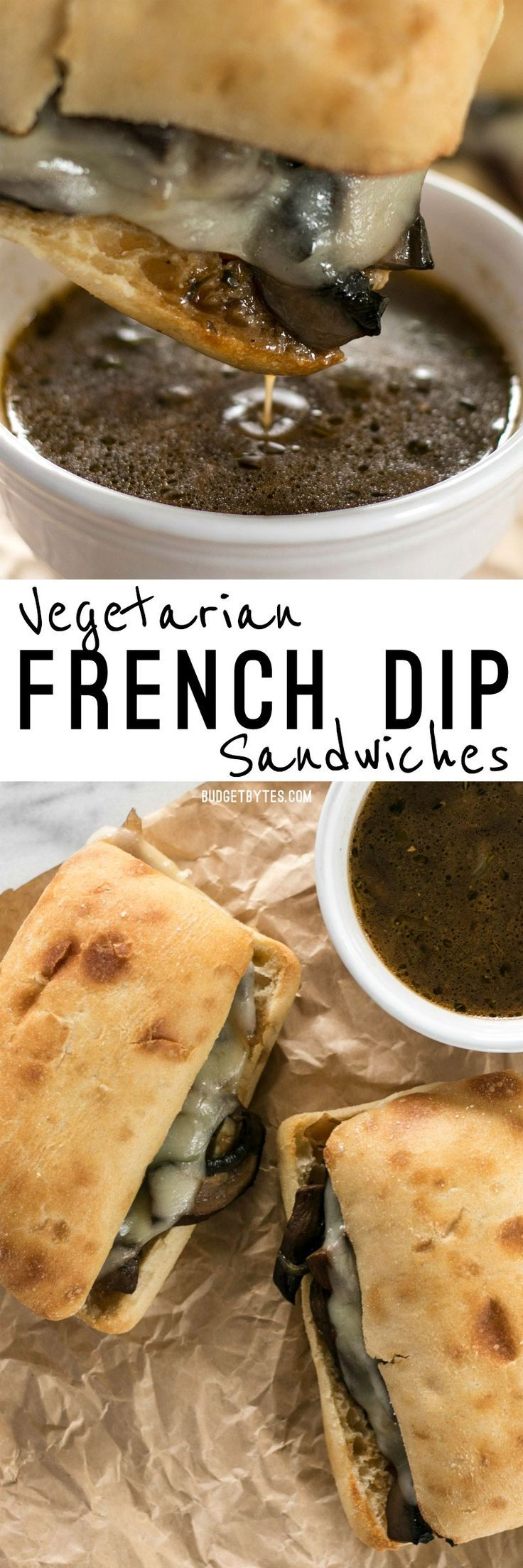 These Vegetarian French Dip Sandwiches are fast, easy, and feature a salty-sweet herb infused vegetarian au jus for dipping. @budgetbytes