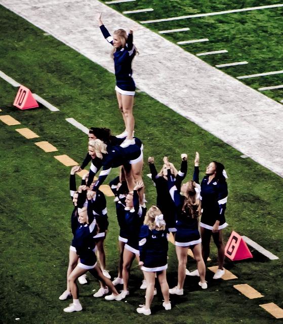 BYU CheerLeader Pyramid college cheerleading collegiate football field game day from Cheerleading: Utah Schools: BYU, Utah, UVU, Weber, USU (Aggies, Utes, Cougars) board http://www.pinterest.com/kythoni/cheerleading-utah-schools-byu-utah-uvu-weber-usu-a/ #cheer #KyFun m.31.4