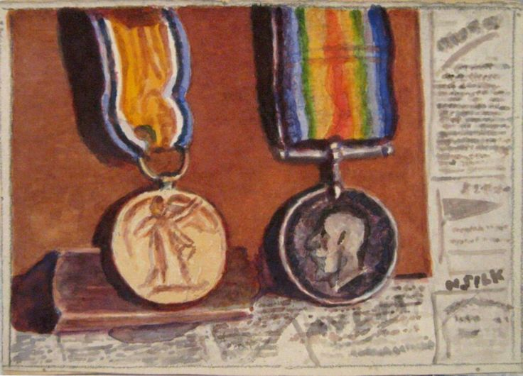 """Here's a very poignant watercolour of """"Mutt & Jeff"""" by Henry Silk who fought in WW1"""