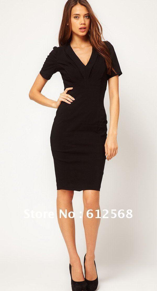 Formal Work Business V-neck Tailored Commute Dresses. Short Sleeves Pencil Dress for Evening Party Black Red Blue MR034