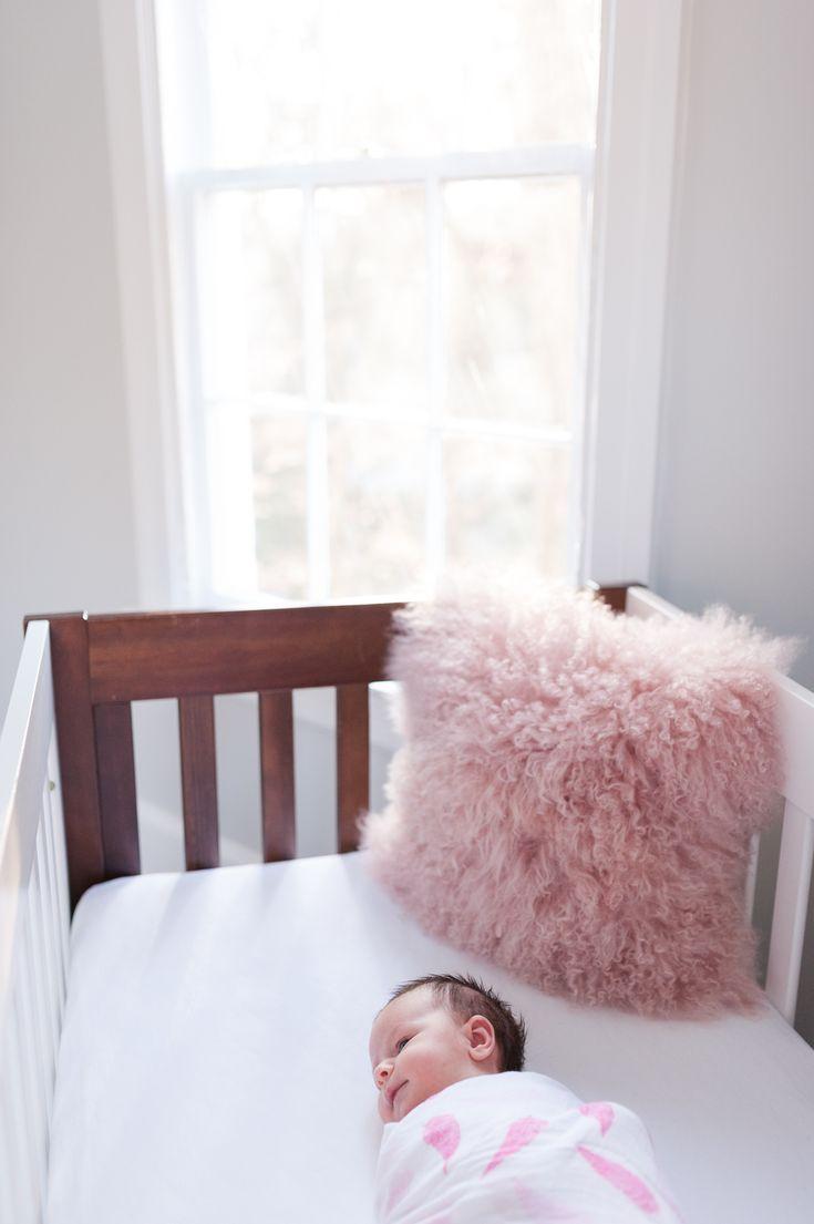 Crib pillows babies - Modern Nursery With A Pop Of Pink