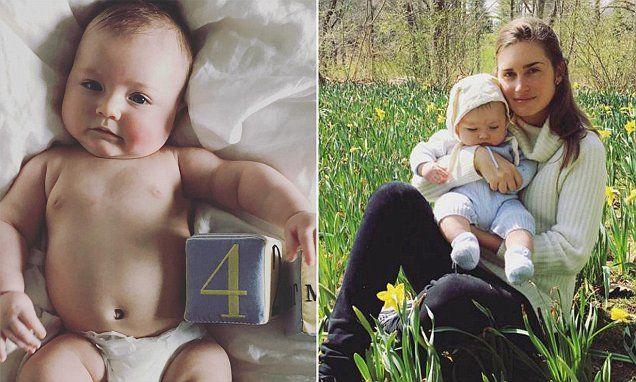 Lauren Bush Lauren poses with her 'baby bunny' James on Easter Day