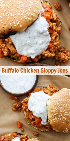 Buffalo Chicken Sloppy Joes   Buffalo wing sauce fans will love these easy to make buffalo chicken sloppy Joes topped with blue cheese ranch sauce!