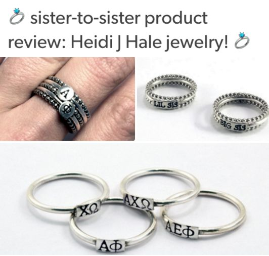 Get the inside SCOOP on these fabulous NEW handcrafted fine silver sorority rings from Sweet Elite Sponsor HEIDI J HALE! I review the greek letters rings, big/little designs and an initial necklace as well. Read all about it!! <3 BLOG LINK: http://sororitysugar.tumblr.com/post/133804024339/sister-to-sister-product-review-heidi-j-hale#notes