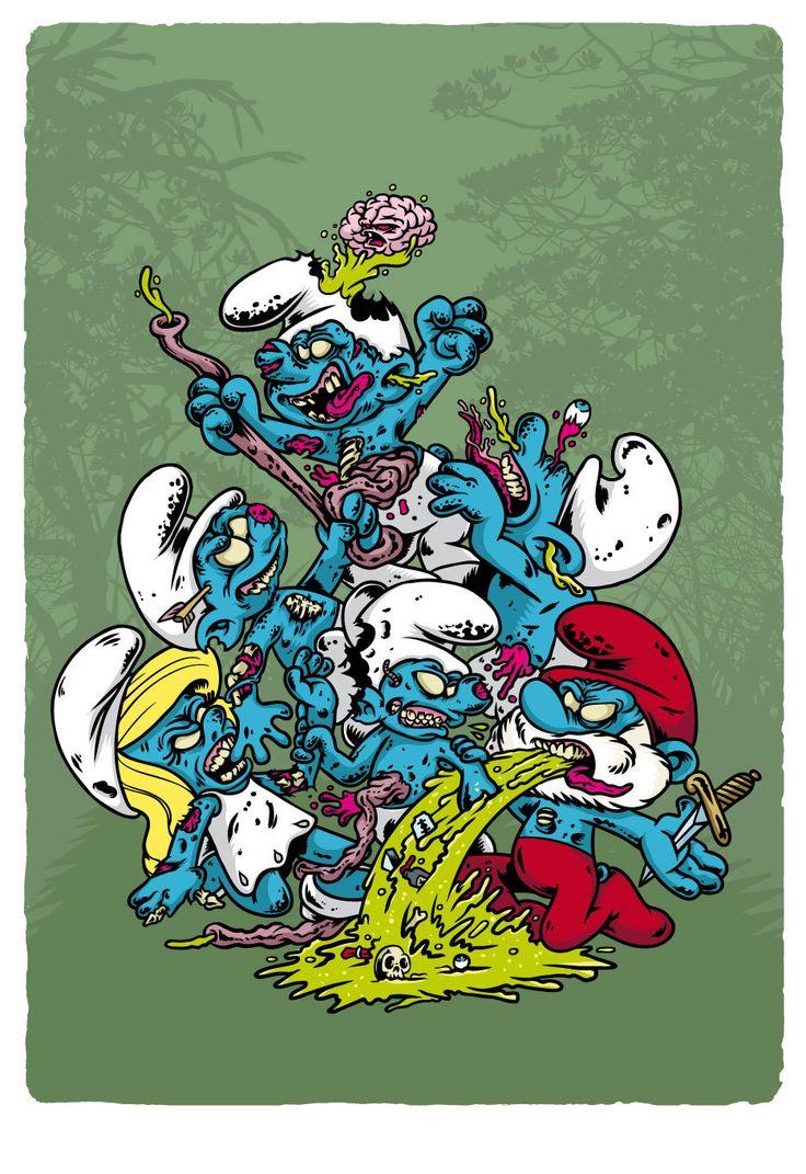 Zomb-Toons / The Smurfs Zombified de MarcosWeirdo en Etsy