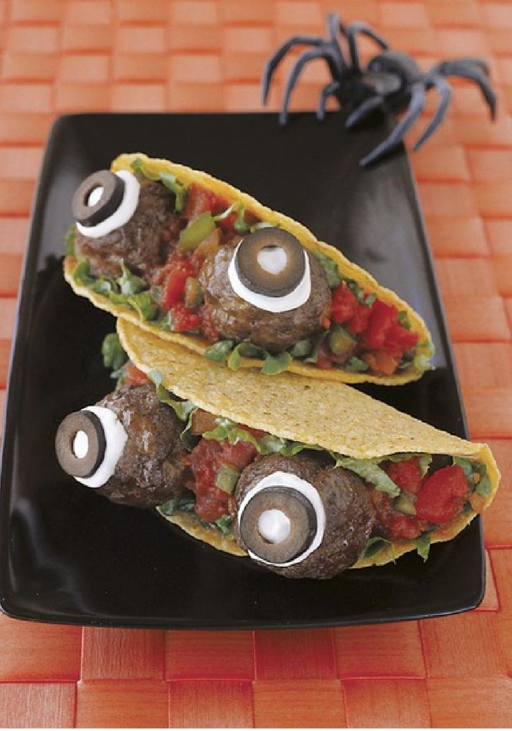 Spooky Eyeball Tacos -- Here's looking at you, kids. Grown-ups, too. A spooktacular Halloween dish that turns tasty meatballs into a creepily fun idea.