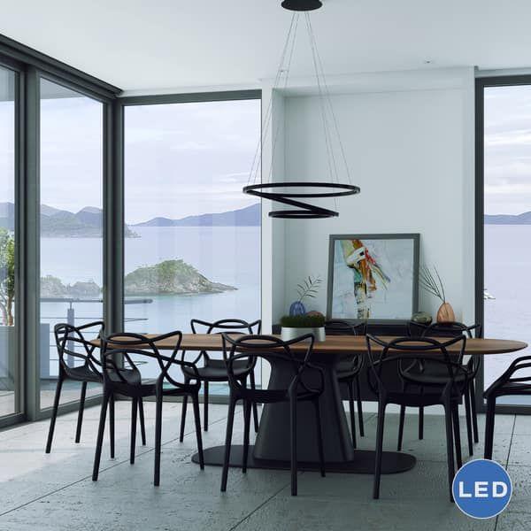 Vonn Lighting VMC32500BL Tania Trio 32-inches LED Adjustable Hanging Light Modern Black Circular Chandelier Lighting