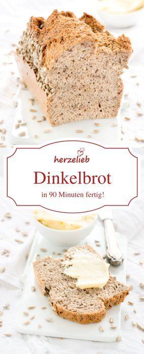 Brot Rezepte: Mit diesem Rezept für ein Dinkelbrot habt ihr schnell und einfach in 90 Minuten ein tolles Brot auf dem Tisch! Rezept vom Foodblog herzelieb.