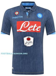 SSC Napoli 2014 2015 Macron Denim Away Football Kit, Soccer Jersey, Maglia
