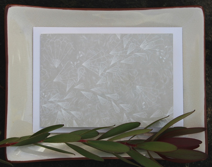 naturewrap greeting card 'White Fans On Silk'   Printed on archival bamboo paper  www.emmajennings.com.au