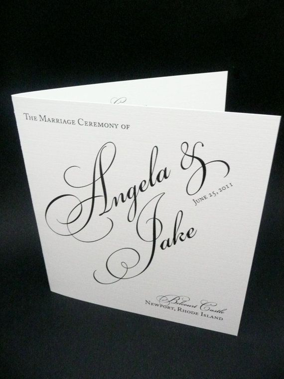 Black & White Wedding Program -  Perfectly swirled script graces the thick textured linen cover while your bridal party and ceremony information is displayed elegantly on the inside. A timeless classic. Simple- yet Elegant....plus you save on printing costs.....add a ribbon or attachment to spice it up...