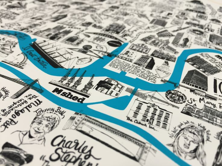 Hand illustrated map of Bristol, by the graphic design team at Barton Willmore.