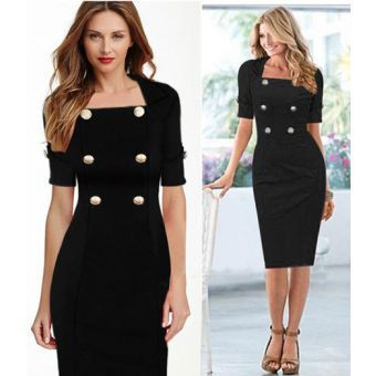 Ladies Double Breasted Thick Short Sleeve Midi Dress - Black Material: Polyester+Spandex  Size: Uk Size 10(Bust: 35.4 inch /Length: 40inch)           Uk Size 14(Bust: 38 inch /  Length : 40.7inch)           UK Size 16(Bust: 41.3 inch / Length: 41inch)  Sexy and Comfortable Very unique, trendy dress for various occasion, including corporate outing