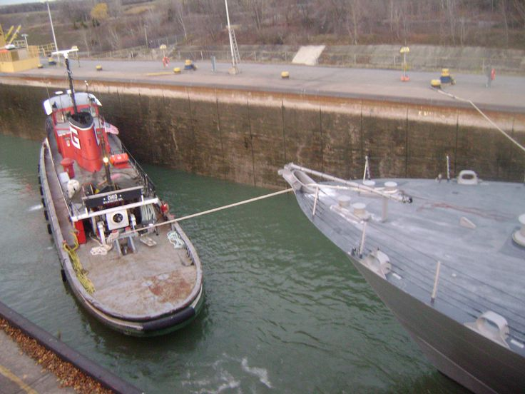Ohio is helping USS Freedom get through the Welland canal.