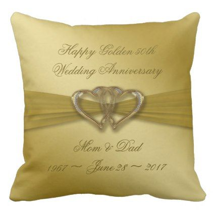 Classic Golden 50th Anniversary Throw Pillow Anniversary Gifts Ideas Diy Celebration Cyo Unique