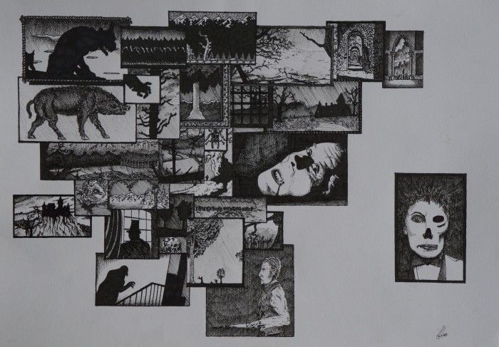 GOTHIC MONTAGE 2 fine liner on paper by Jeremy Elkington - $130 available to buy at bluethumb.com.au/jeremyelkington #horror #art #drawing