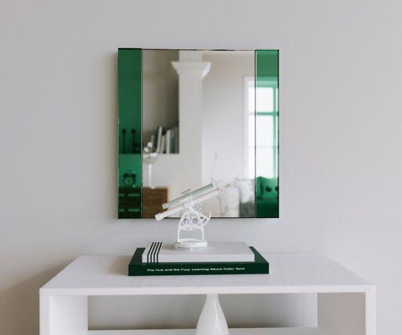 Decorative Wall Mirror. Art Deco wall mirror. Handmade frameless wall mirror with custom green emerald glass mirrored side panels.