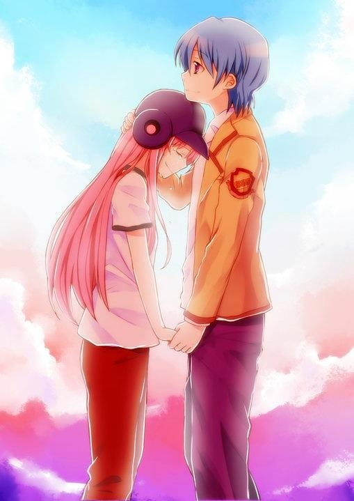 Yui and Hinata - Angel Beats! cutest couple in the entire show!!!!!!