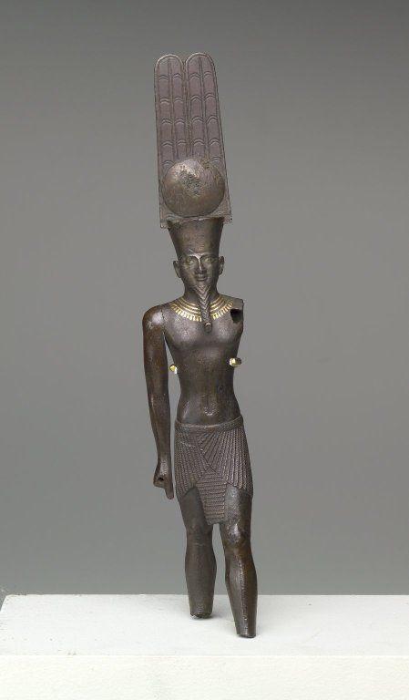 Standing Figure of the God Amun-Re, ca. 760-656 B.C.E. Bronze, gold, 7 15/16 x 1 1/2 x 1 7/16 in, Memphis, Egypt.