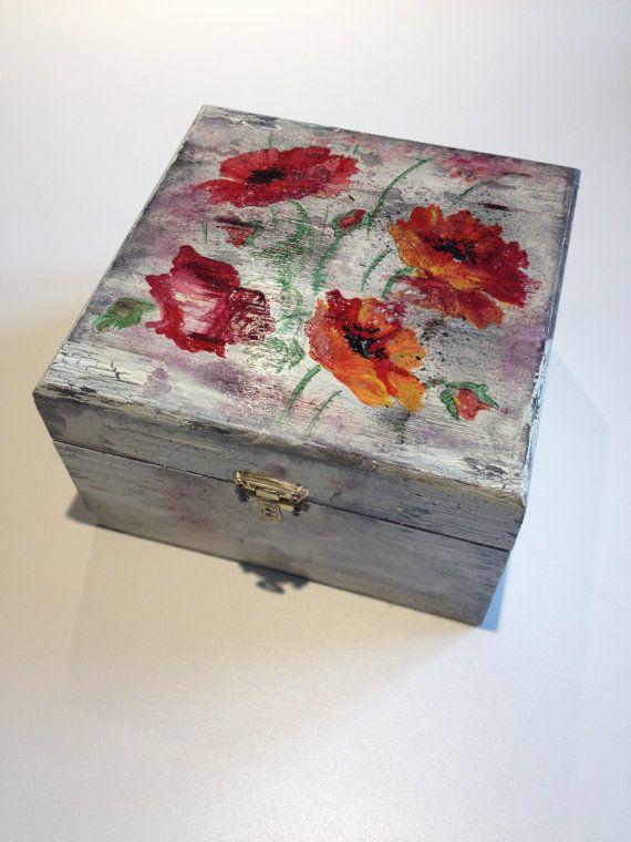 Flower Jewelry Box Decoupaged Wood Box by ElizaHomeDecoration