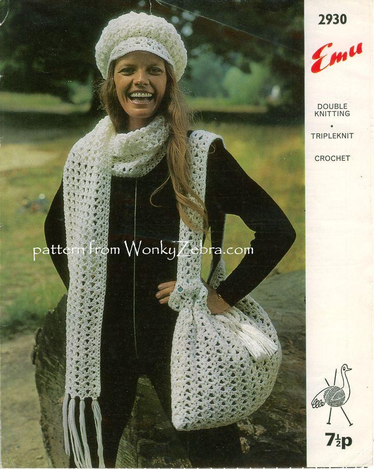 WZ761 -wonderfully over the top vintage hat, bag, & scarf set!