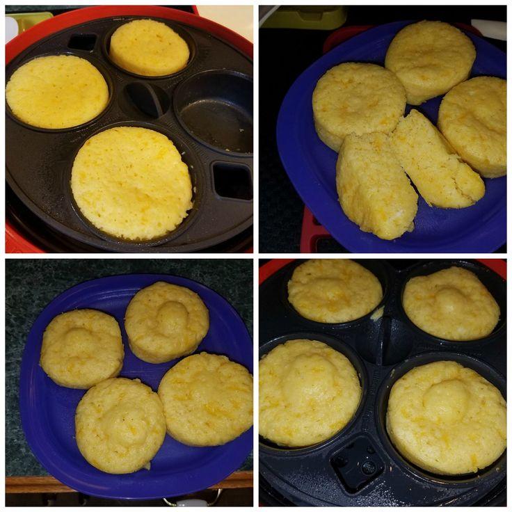 Cheesy Cornbread Muffins*, By: Aurelia Dougan McCollom, April 12, 2017 Ingredients: 1- (8.5 oz.) box corn muffin mix 1/3 cup water 2 large eggs 1 cup shredded cheddar cheese