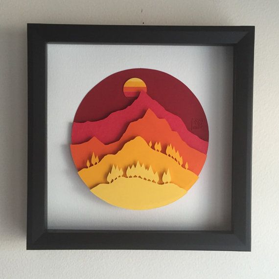 3D Paper Art Green Mountain by POWpaper on Etsy                                                                                                                                                     More