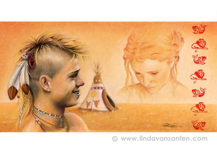 Illustration the realtion between an Indian and women (self portrait).