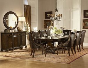 Orleans Trestle Traditional Dark Cherry Extension Formal Dining Table