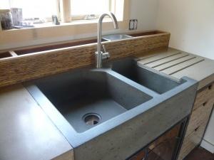 concrete sink with storage