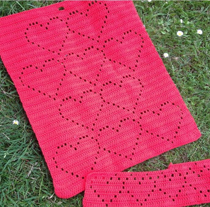 Hæklet HjerteHåndklæde 1 gratis hækle opskrift fra Astrid. Hæklet håndklæde med…