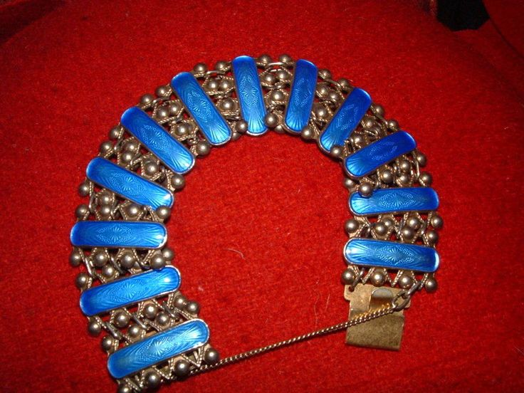 VINTAGE ARNE NORDLIE-NORWAY- SILVER 925S & COBALT BLUE PATTERNED ENAMEL BRACELET