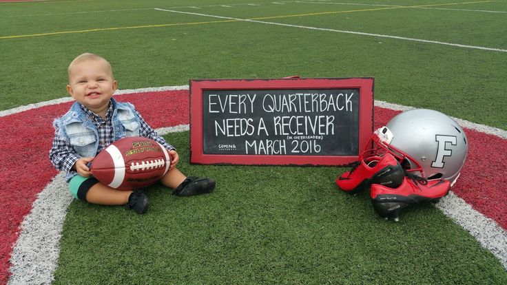 Football pregnancy announcement. Every quarterback needs a receiver or cheerleader!