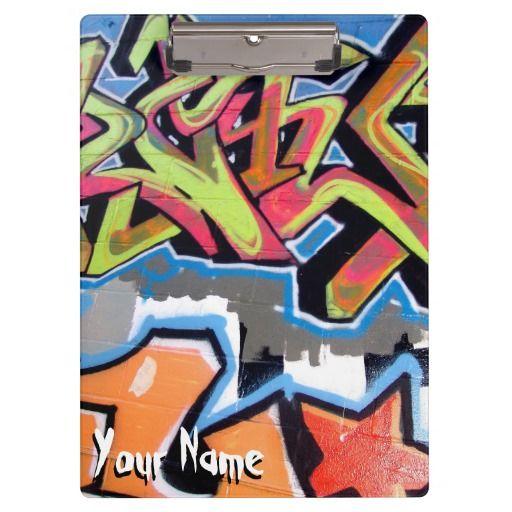 Cool Grafiti Hop Hop custom name clipboard a perfect gift for a teacher or a dancer.