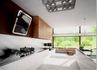 Vertically installed hood, Galaxy has three extracting panels made from glass which are complimented by the elegant frame, in smoothed shiny stainless steel, creating a contrast between the colours and the perfectly matched materials.