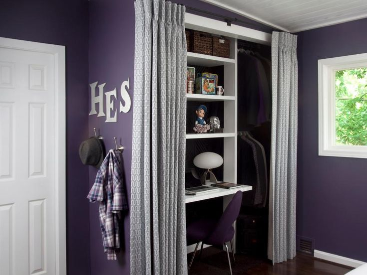 Dark Purple Room With Lavender Curtains and Ample Closet Space