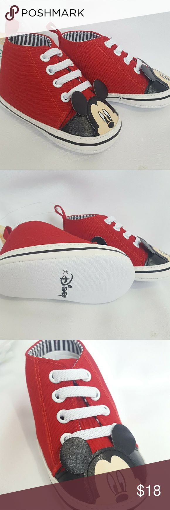 Mickey Mouse Disney baby chucks sneakers Sz 6-9M Mickey Mouse Disney baby chucks sneakers Sz 6-9M Disney Shoes Sneakers
