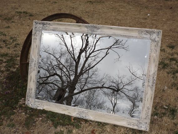 Tree Reflection. Ornate French Country Wall Mirror , Shabby Chic, Distressed ,  Extra Large 42 x 30, Buy as Shown or  Choose Color