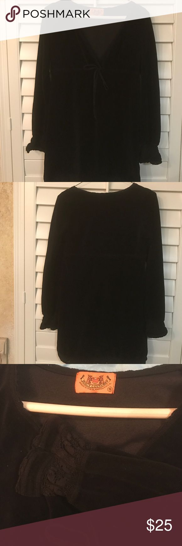Black Juicy Couture Velour Dress This is a Long Sleeve Black Velour dress that has a lace patten on the sleeve tried to show in pic 3. In good condition and is supper cute. Size small Juicy Couture Dresses Long Sleeve